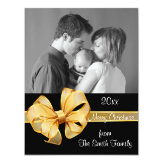 "Gold and Black Photo Christmas Card 4.25"" X 5.5"" Invitation Card"