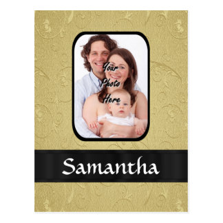 Gold and black photo template postcard