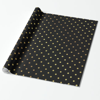 Gold and Black Polka Dots Wrapping Paper