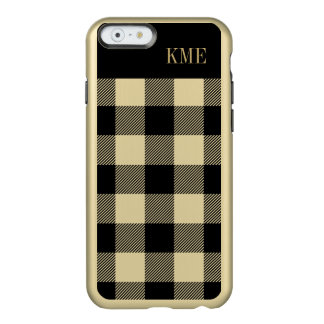 Gold and Black Preppy Buffalo Check Monogram Incipio Feather Shine iPhone 6 Case