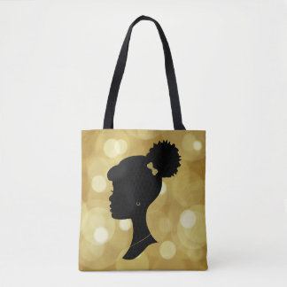 Gold and Black Puff Girl Silhouette Tote