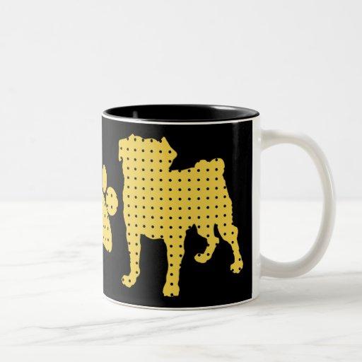 Gold and Black Pug and Paw Mugs