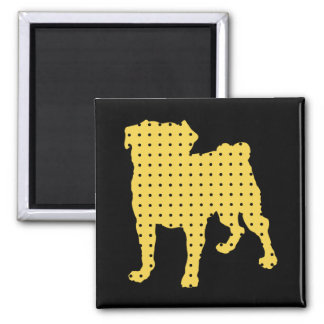 Gold and Black Pug Magnet - Add Your Own Text