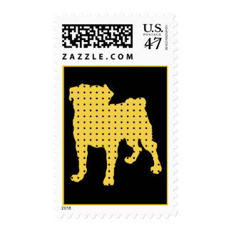 Gold and Black Puggy Postage Stamps
