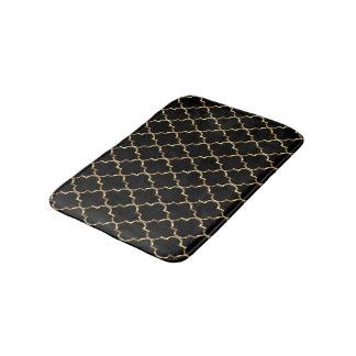 Gold and Black Quatrefoil Bathroom Mat