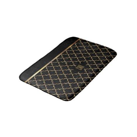 Gold and Black Quatrefoil - Monogram Design Bath Mat