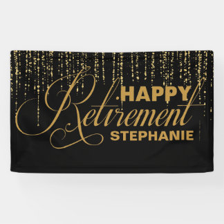Gold and Black Retirement Party Banner