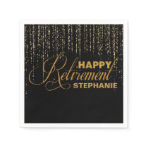Gold and Black Retirement Party, Custom Napkins