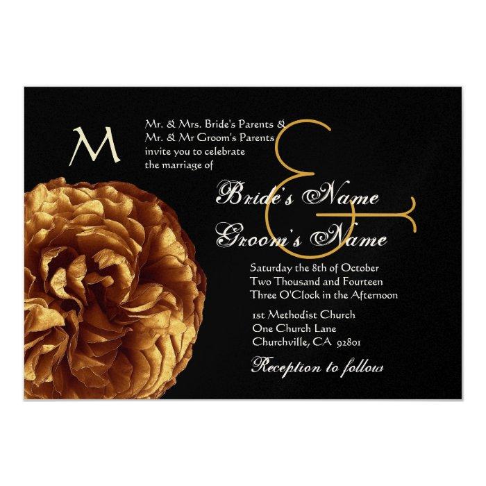 Gold and Black Rose Wedding Metallic Paper Card