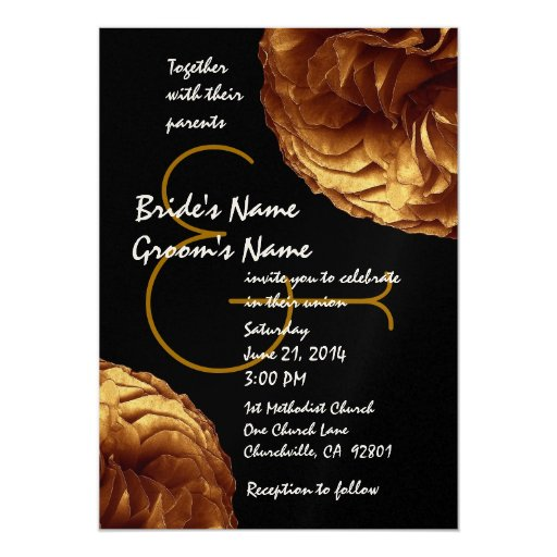 Gold and Black Roses Wedding Template Card