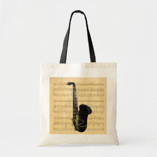 Gold and Black Saxophone Canvas Crafts & Shopping Canvas Bag