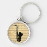 Gold and Black Saxophone Luggage or Laptop Tag Silver-Colored Round Keychain at Zazzle