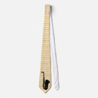 Gold and Black Saxophone on Necktie With Music