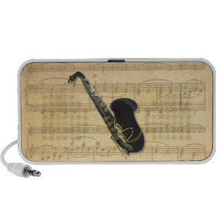Gold and Black Saxophone on Old Sheet Music Doodle Mini Speakers