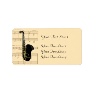 Gold and Black Saxophone Sheet Music Labels at Zazzle