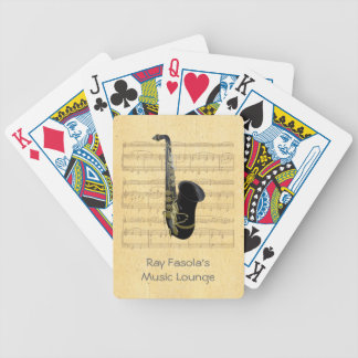 Gold and Black Saxophone Sheet Music Playing Cards Bicycle Playing Cards