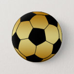 GOLD AND BLACK SOCCER BALL BUTTON