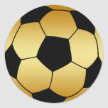 GOLD AND BLACK SOCCER BALL CLASSIC ROUND STICKER