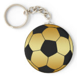 GOLD AND BLACK SOCCER BALL KEYCHAIN