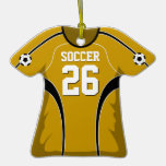 Gold and Black Soccer Jersey #26 Christmas Tree Ornaments