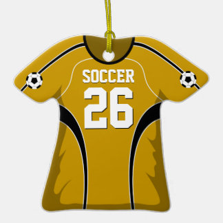 Gold and Black Soccer Jersey #26 Double-Sided T-Shirt Ceramic Christmas Ornament