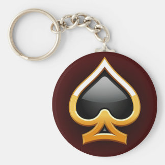 GOLD AND BLACK SPADE BASIC ROUND BUTTON KEYCHAIN
