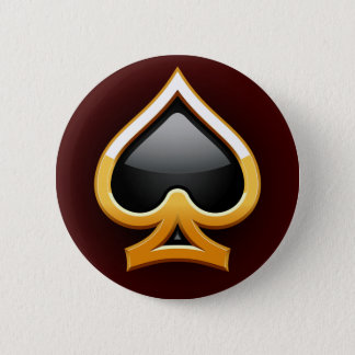 GOLD AND BLACK SPADE PINBACK BUTTON