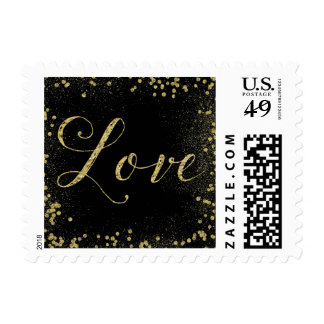 Gold and Black Sparkle Confetti Dots Love Postage