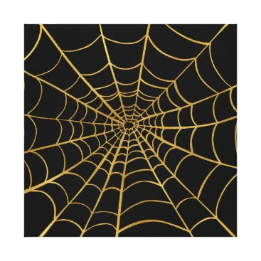 Halloween Themed Gold and Black Spider Web Canvas Print