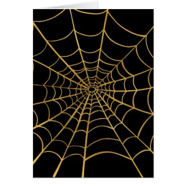 Halloween Themed Gold and Black Spider Web Card