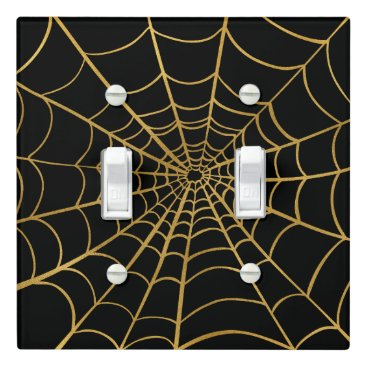 Halloween Themed Gold and Black Spider Web Light Switch Cover