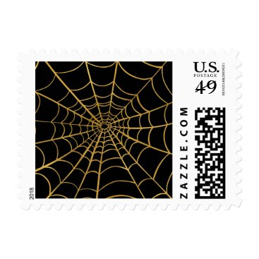 Halloween Themed Gold and Black Spider Web Postage