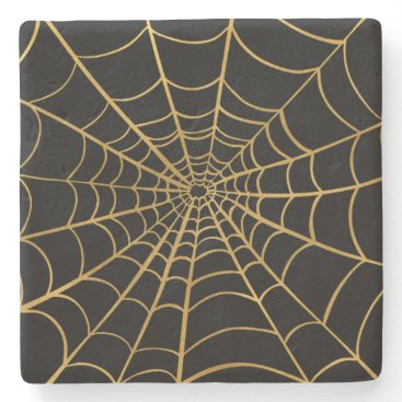 Halloween Themed Gold and Black Spider Web Stone Coaster