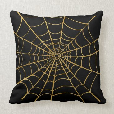 Halloween Themed Gold and Black Spider Web Throw Pillow
