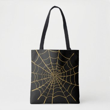 Halloween Themed Gold and Black Spider Web Tote Bag