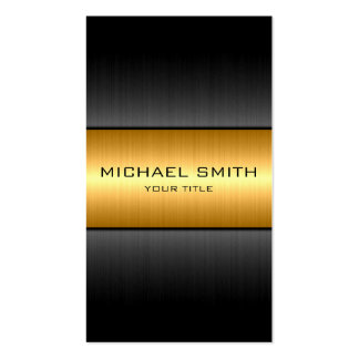 Gold and Black Stainless Steel Metal Business Card
