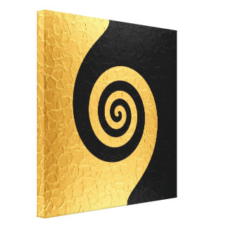 Gold and black stainless steel metal swirl 2 canvas print