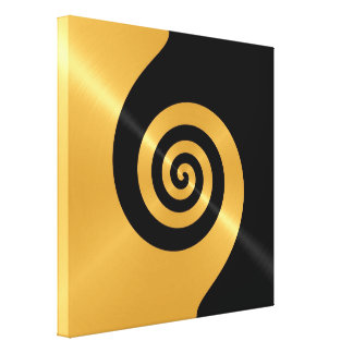 Gold and black stainless steel metal swirl canvas print
