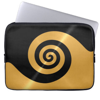 Gold and Black Stainless Steel Metal Swirl Computer Sleeve