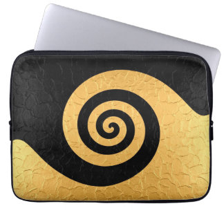 Gold and Black Stainless Steel Metal Swirl Laptop Sleeve