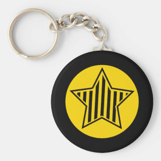 Gold and Black Star Keychain