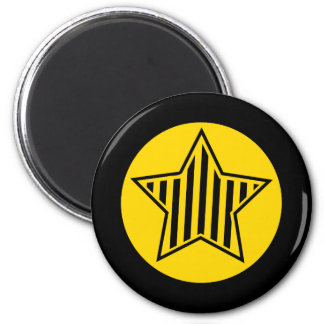 Gold and Black Star Round Magnet