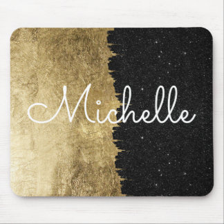 Gold and Black Starry Night Brushstrokes Monogram Mouse Pad