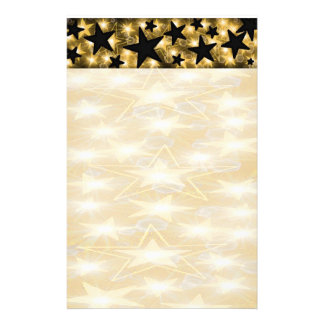Gold and Black Stars Stationery