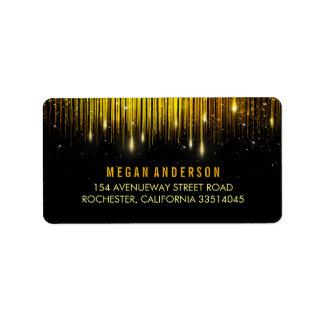 Gold and Black String Lights Glitter Wedding Label