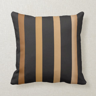Gold and Black Striped Pattern Throw Pillow