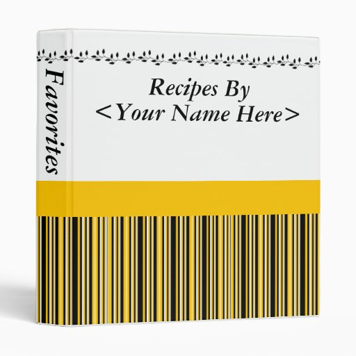 Gold and Black Striped Recipe Binder