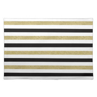 Gold And Black Stripes Cloth Placemat at Zazzle