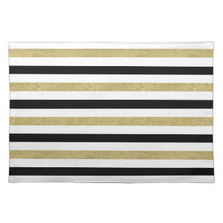 Gold and Black Stripes Cloth Placemat