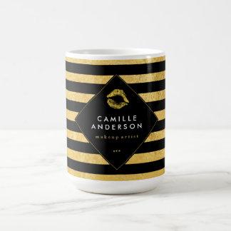 Gold and Black Stripes Makeup Artist Coffee Mug